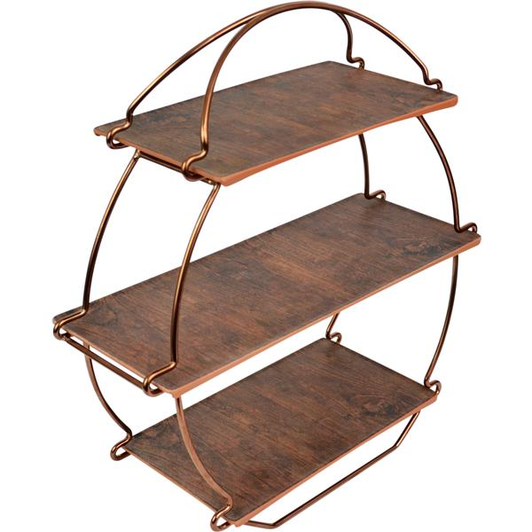 Copper Tea Stand Incs Wooden Platters Ts3000rw
